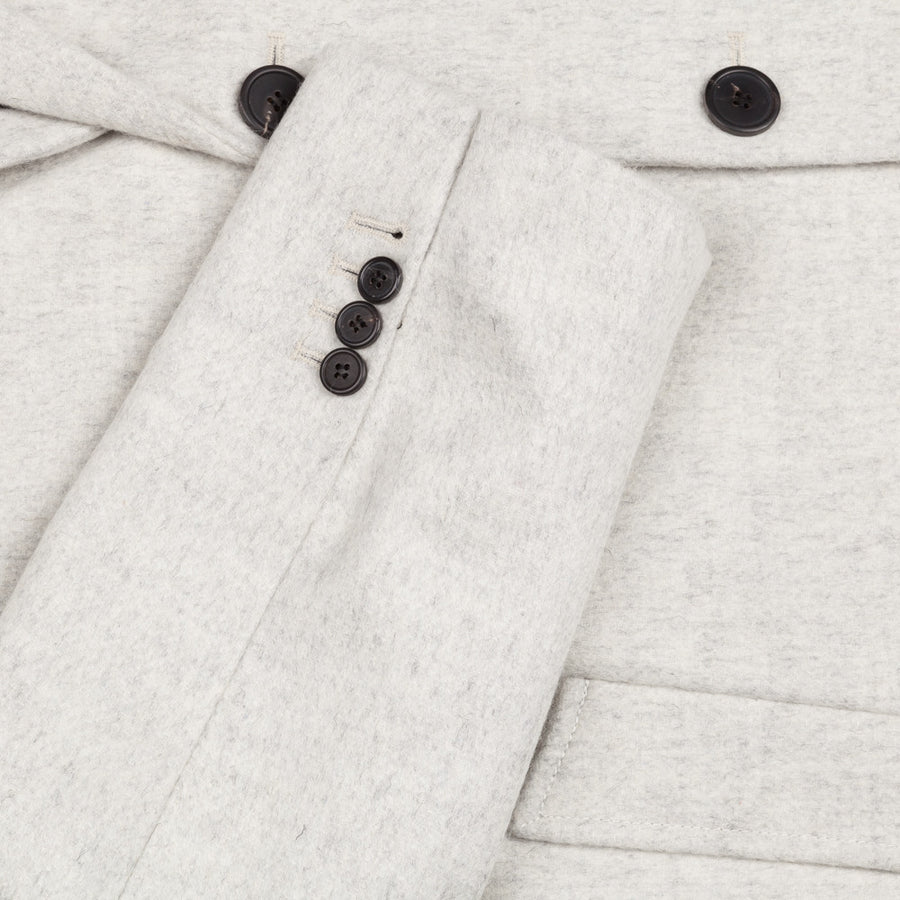 Ami Alexandre Mattiussi oversized 2 button coat brushed wool grege