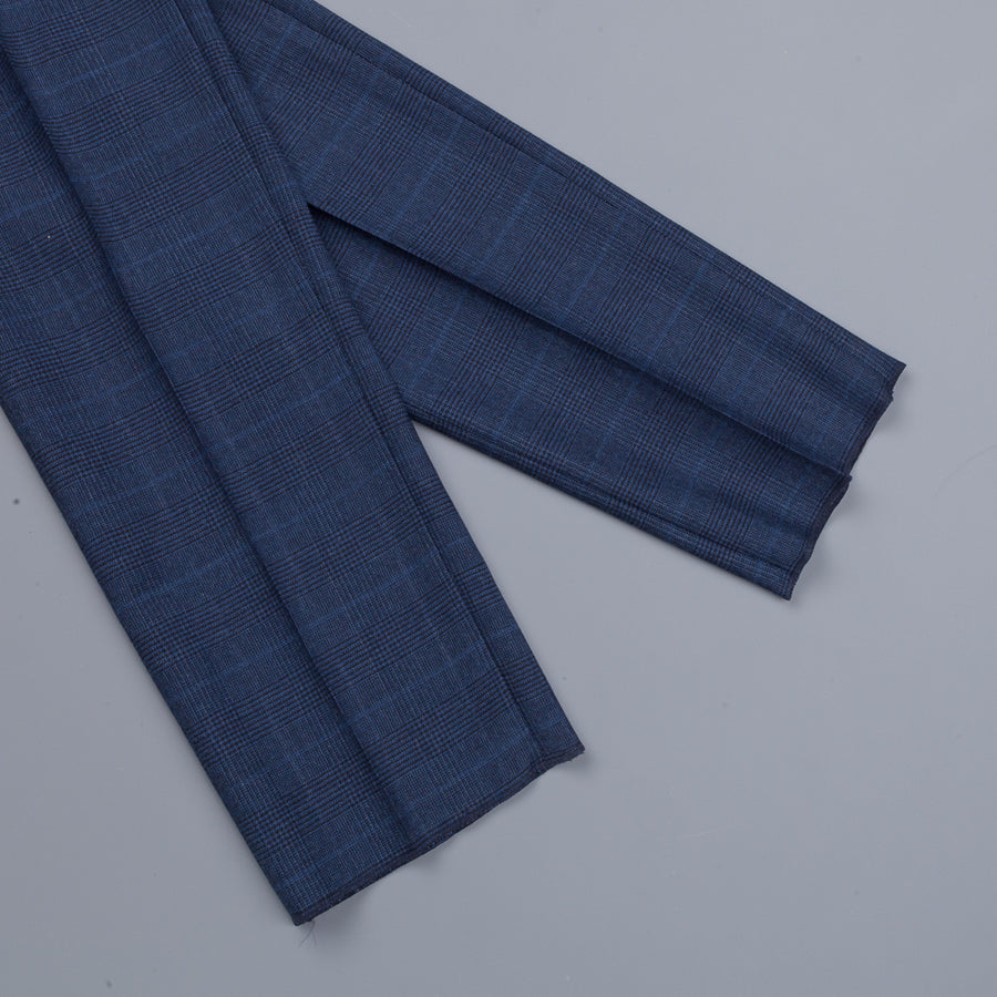 Incotex Venezia model 45 Thight fit flannel pants Prince of Wales Blu Medio