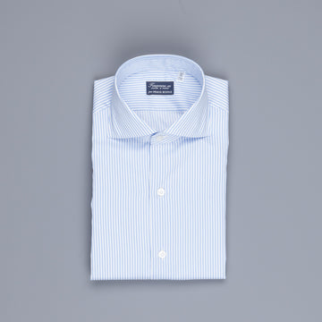 Finamore Milano shirt collo Eduardo blue bengal stripe twill