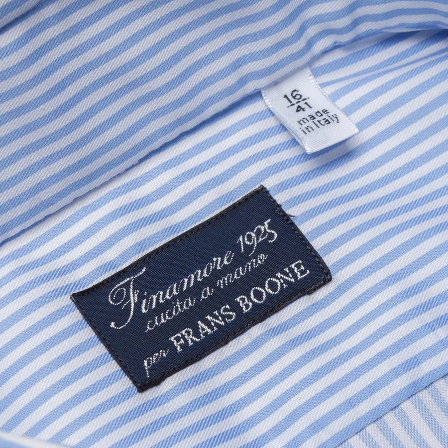 Finamore Napoli shirt collo Eduardo blue bengal stripe twill