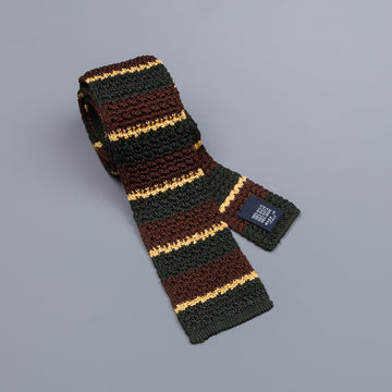 Drake´s regimental stripe silk knitted tie green/brown/gold