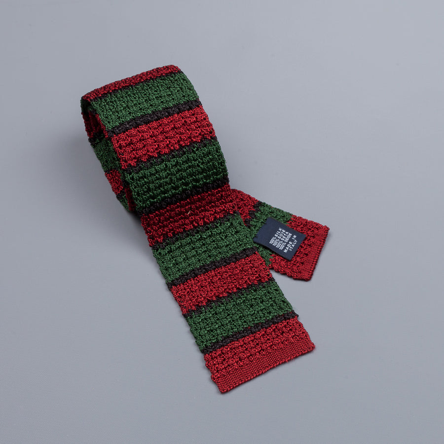Drake´s regimental stripe silk knitted tie green/red/black