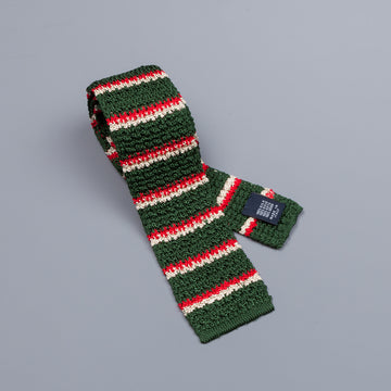 Drake´s regimental stripe silk knitted tie green/red/ecru