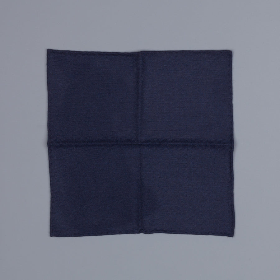 Drake's Cashmere Tie untipped & Pocket Square Match Navy