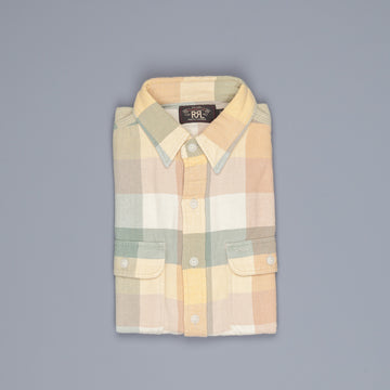 RRL Matlock Sportshirt Cotton Twill Plaid Yellow Green