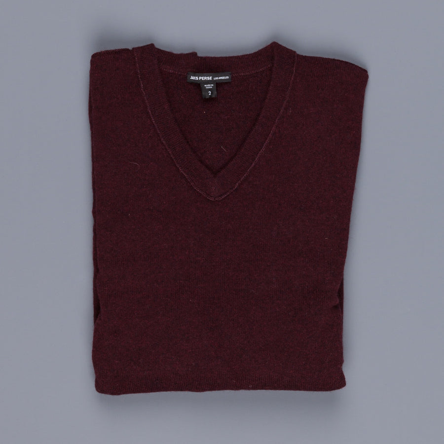 James Perse Lightweight Cashmere V Neck Crimson (burgundy)