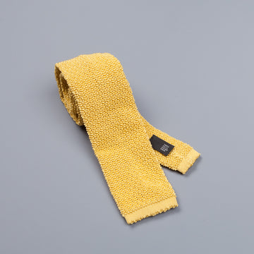 Drakes knitted silk tie Lemon