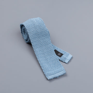 Drakes silk knitted tie Sky