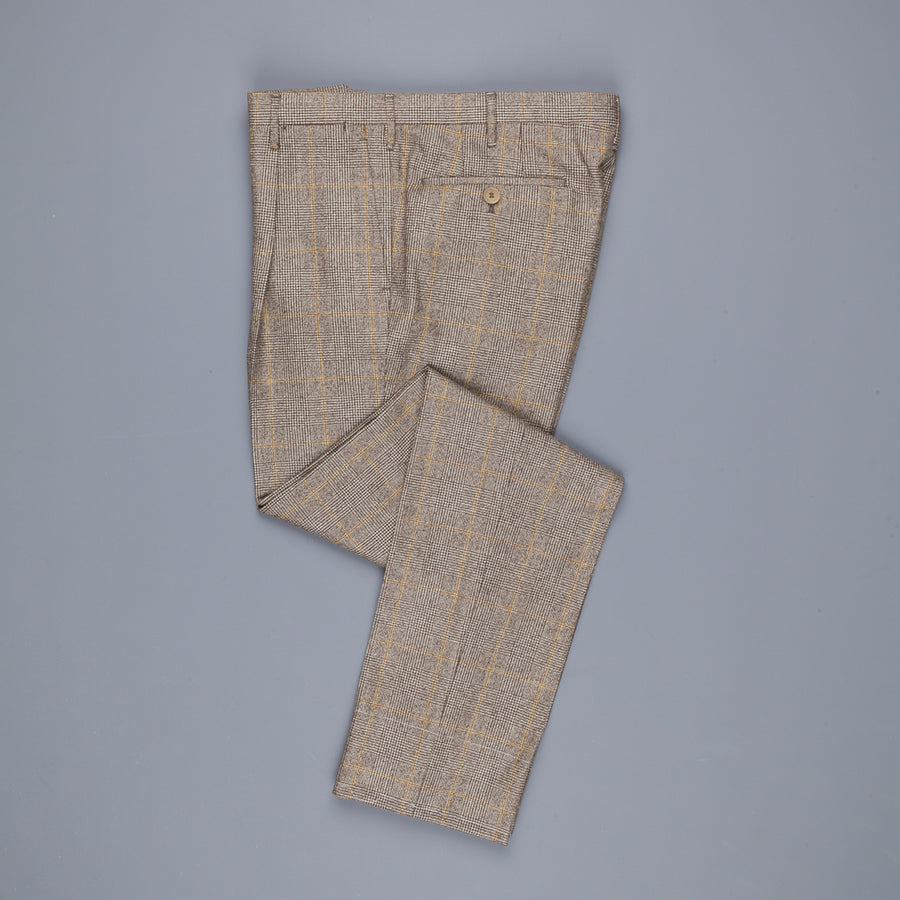 Rota Pantaloni High Rise Regular Fit Prince Of Wales Check Beige Scuro