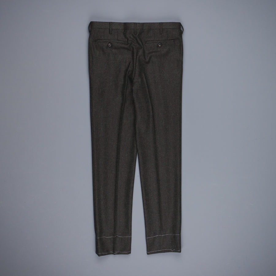 Rota Pantaloni High Rise Regular Fit Flannel Herringbone Verde Scuro