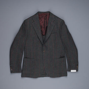 De Petrillo x Frans Boone jacket Shetland Herringbone two tone windowpane teal