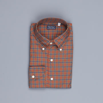 Finamore Gaeta Shirt Collo Lucio Shepperds Check Rugine
