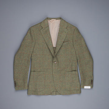 De Petrillo x Frans Boone jacket Shetland Herringbone two tone windowpane moss