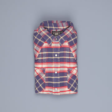 RRL Buffalo West Long Sleeve Sport Shirt Plaid Navy Red