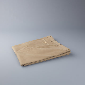 Rota Pantaloni High Rise Regular Fit Mid Weight Cotton Gabardine Beige Scuro
