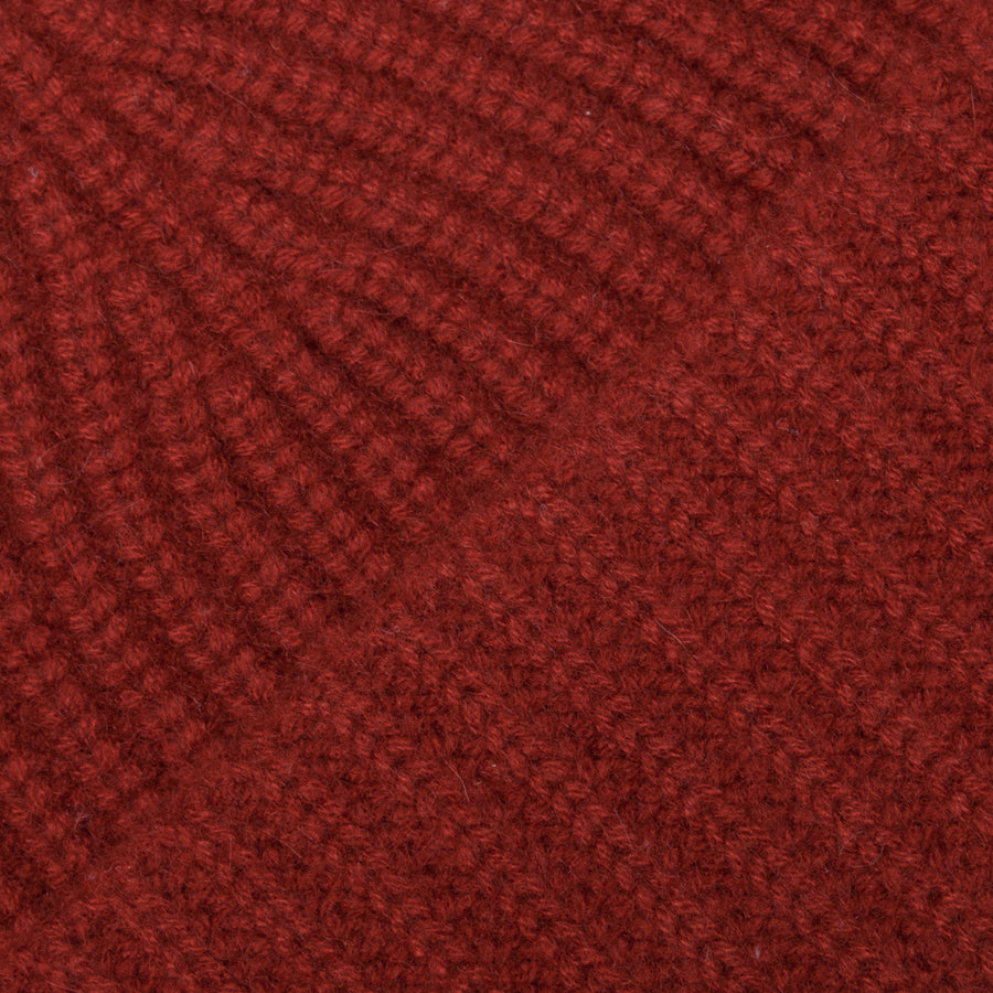 Aspesi Ribbed Cashmere Hat Rusty Red