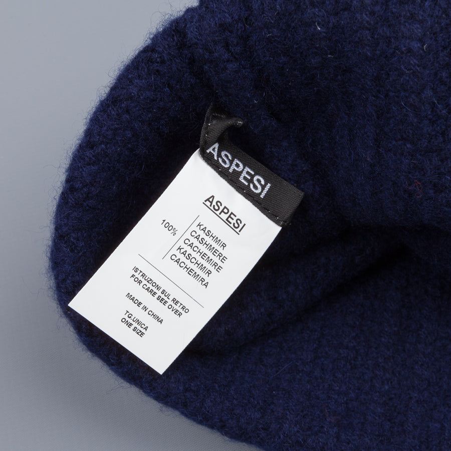 Aspesi Ribbed Cashmere Hat Navy