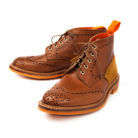 Trickers for Frans Boone two tone brogue boot suede heel