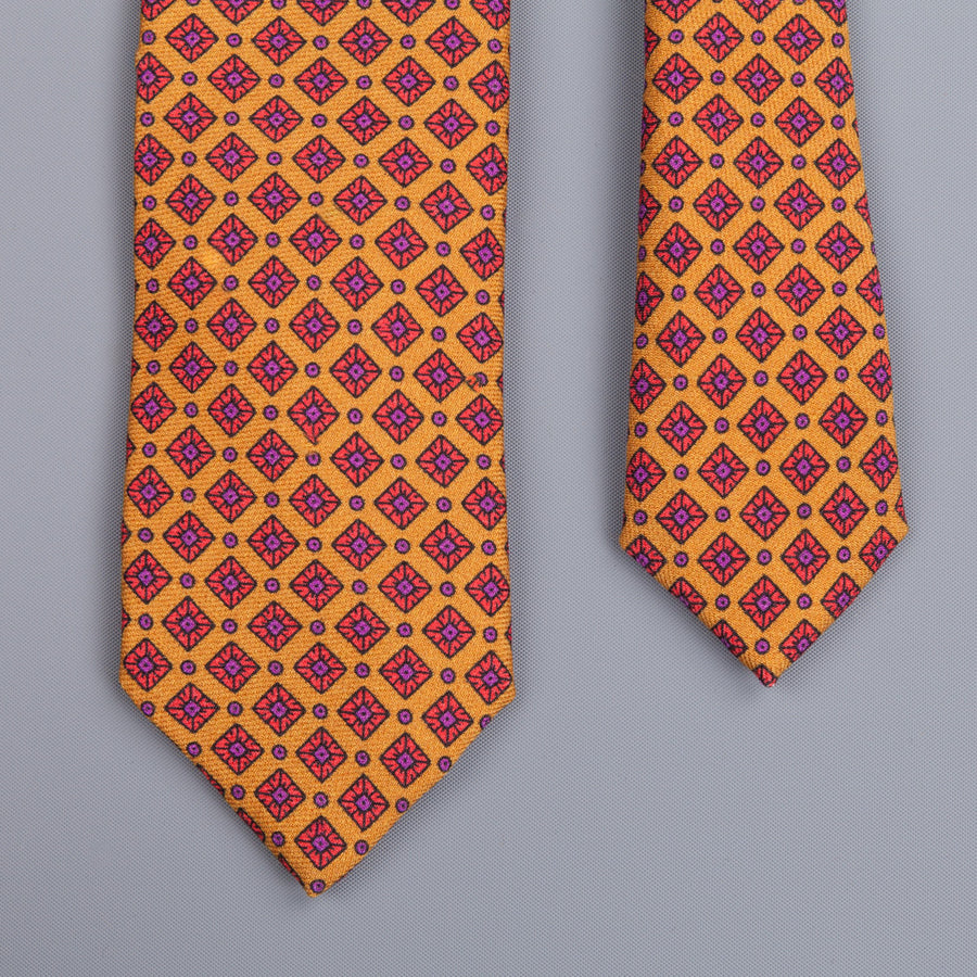 Drakes printed wool tie dark gold