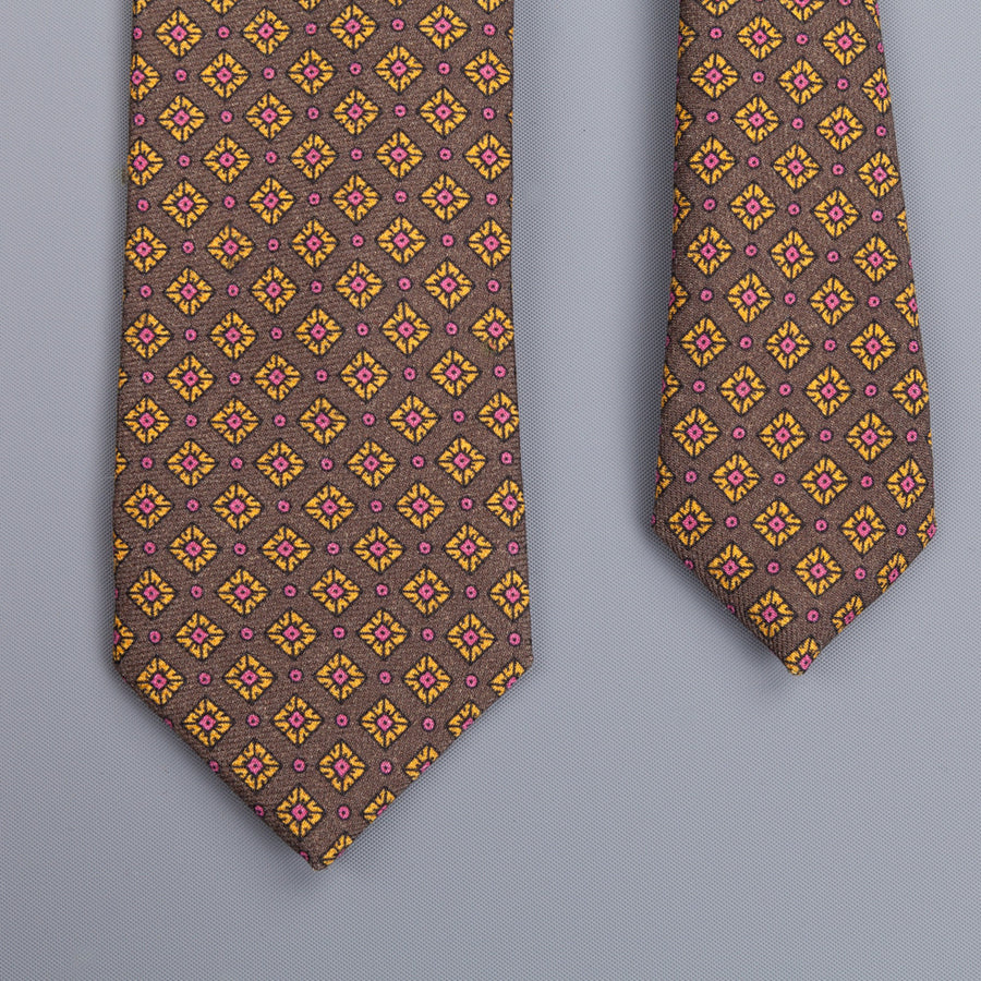 Drakes printed wool tie dark green