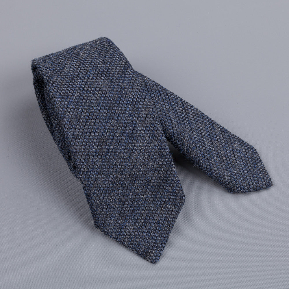 Drakes Grenadine wool silk tie dark grey