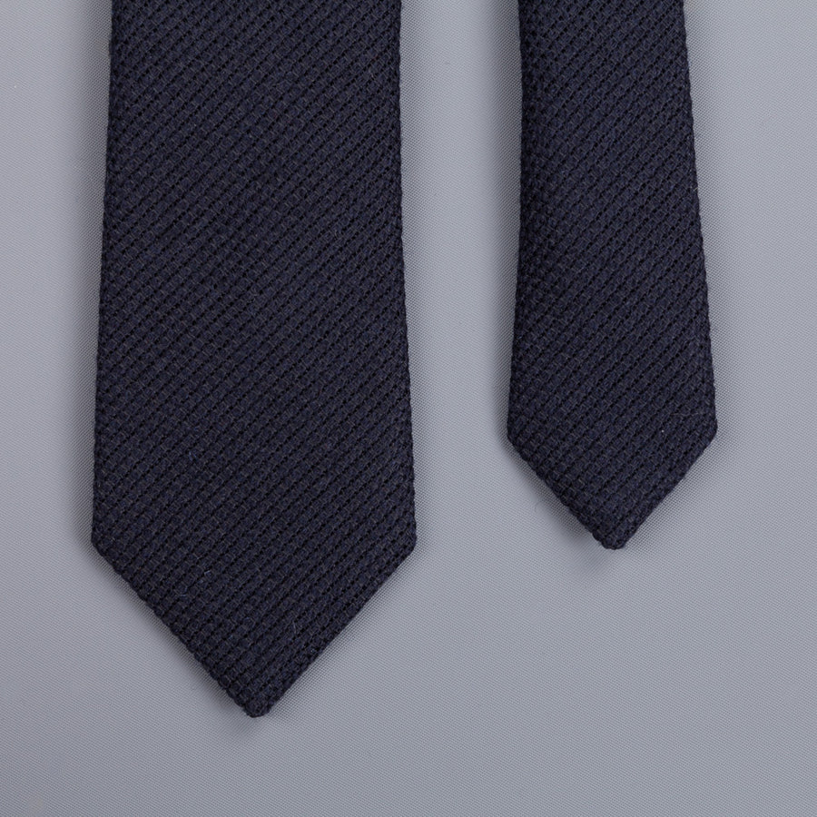 Drakes Grenadine wool silk tie dark navy