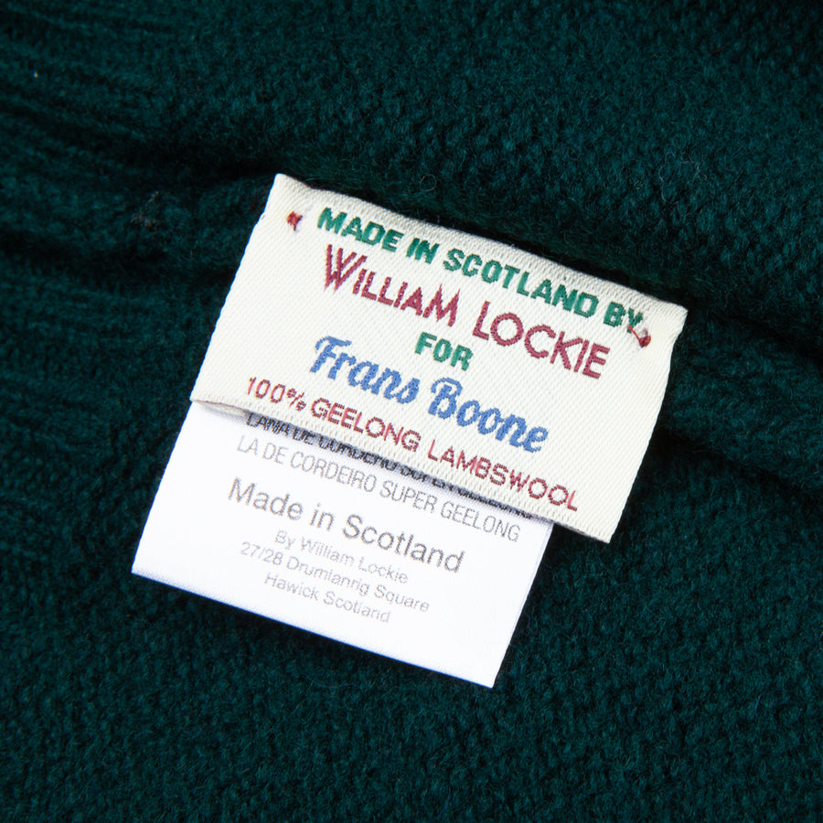William Lockie Gullan Super Geelong Roll Neck Tartan Green