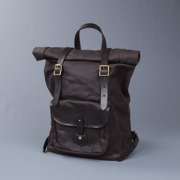 Croots X Frans Boone Canvas Rolltop Backpack Dark Brown