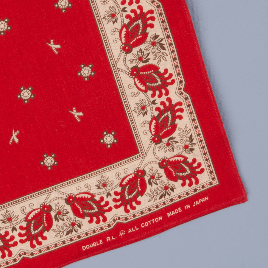 RRL Robbin Cotton Bandana Red/Cream/Black