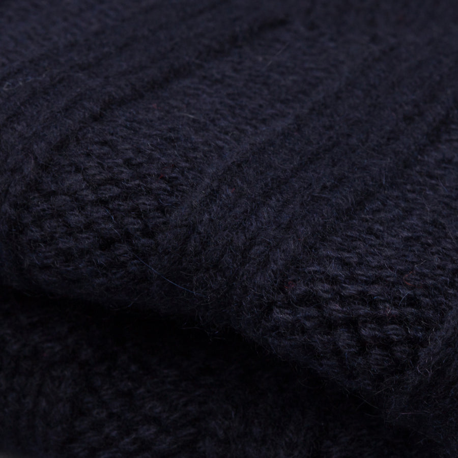 Drumohr Ribbed Cashmere Hat Navy