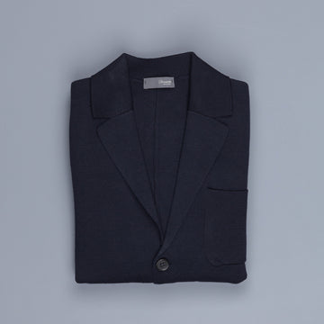 Drumohr Knitted Jacket Merino Wool Navy Blu
