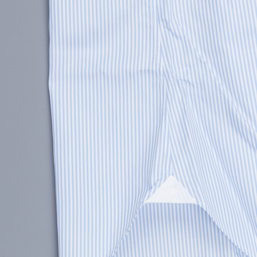 Finamore 'Traveller' shirt Napoli fit Collar Eduardo Alumo light Blue stripe poplin