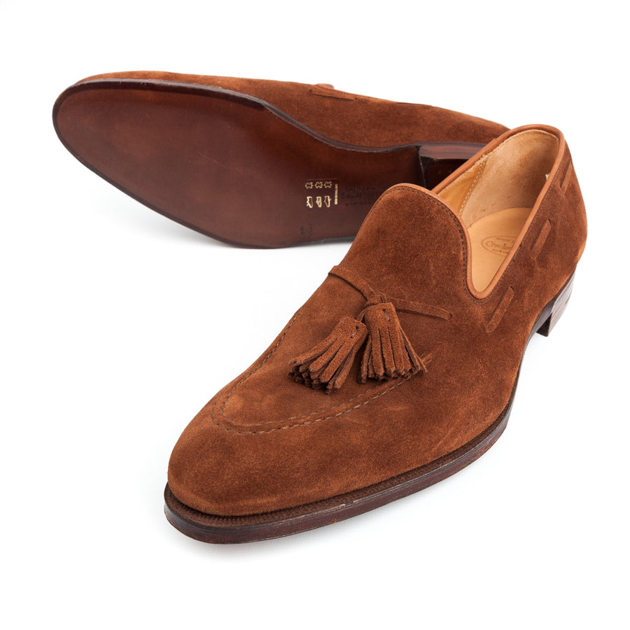 Crockett and Jones Vincent tassel loafer in polo brown suede