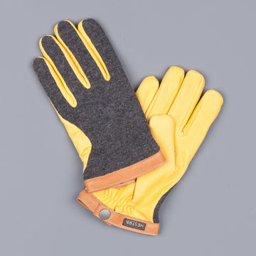 Hestra Derskin Wool Tricot gloves charcoal natural yellow