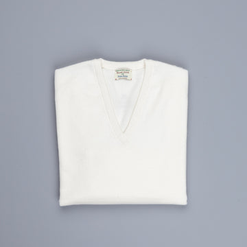 William Lockie Oxton Cashmere V-Neck Ice White