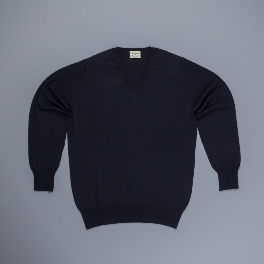 William Lockie x Frans Boone 30 gauge Loro Piana Merino's V-Neck Dark Navy