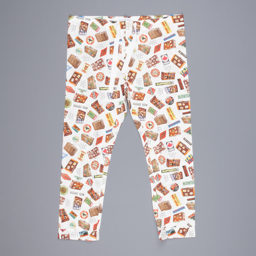 Maison Marcy Slim fit PJ's pants off white print