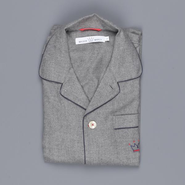 Maison marcy pj's shirt grey flannel herringbone regular fit
