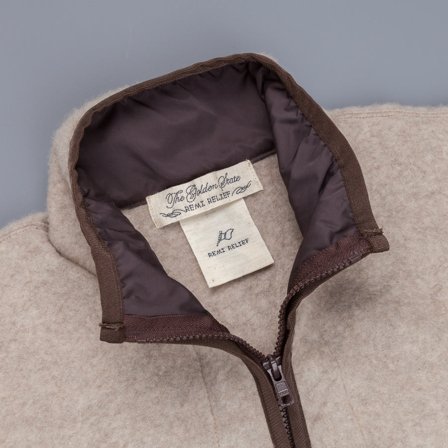Remi Relief Zipped Wool Fleece Beige