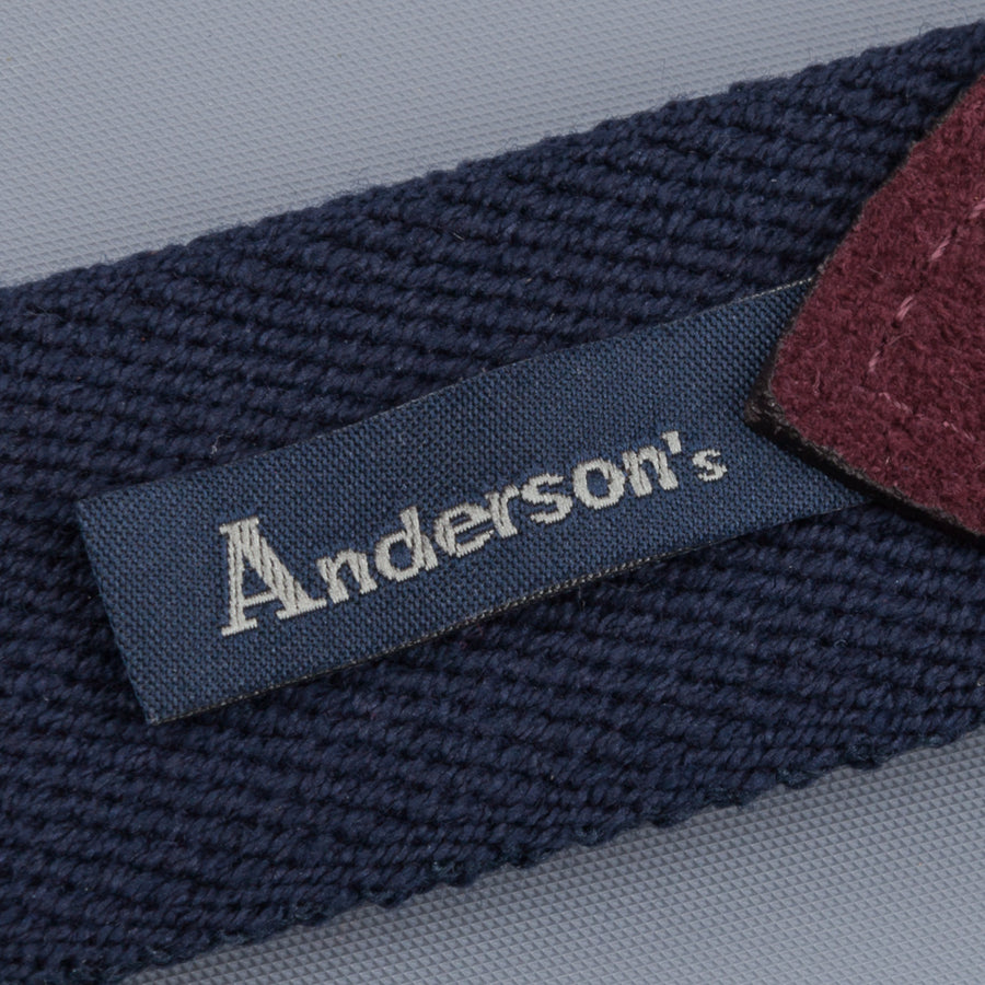 Anderson's x Frans Boone woven belt Navy -  Burgundy suede