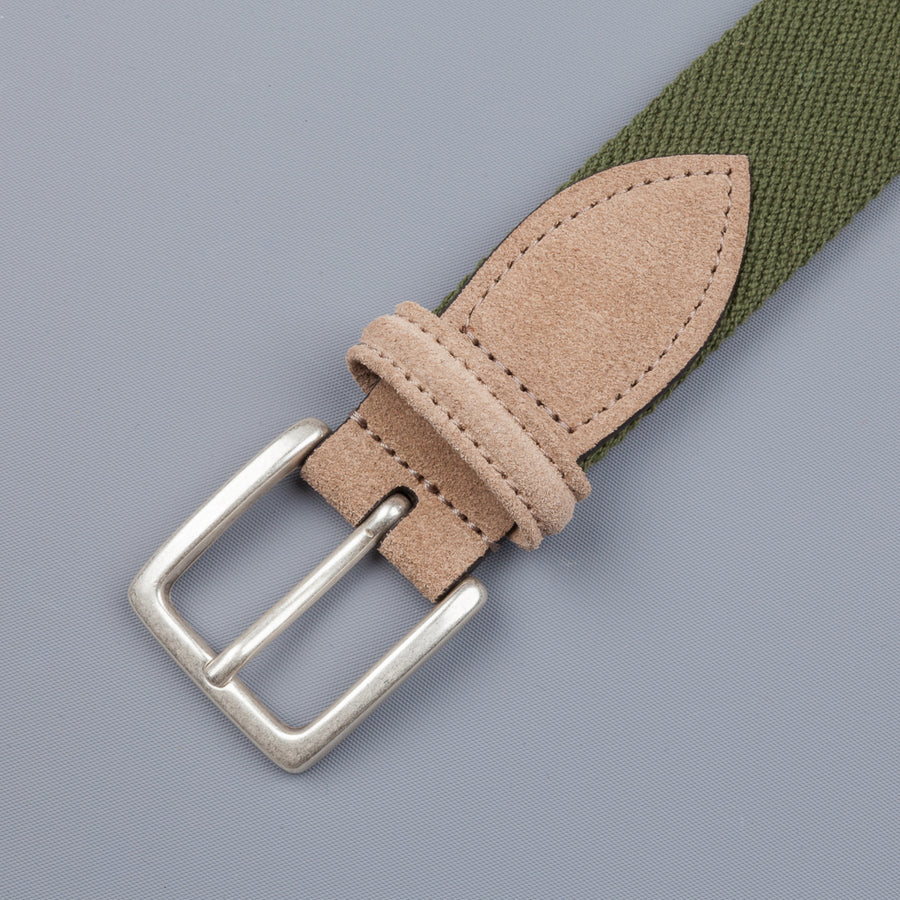 Anderson's x Frans Boone woven belt olive -  tan suede
