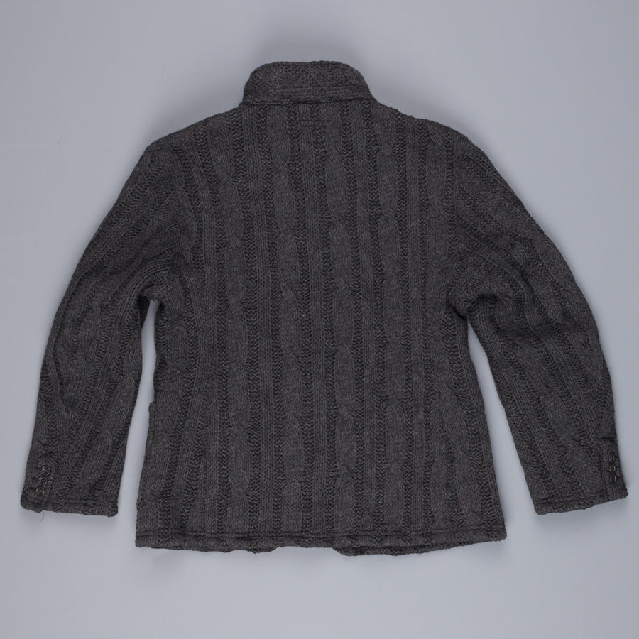 Engineered Garments knit leisure jacket in dark grey cable knit