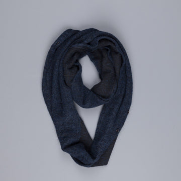 Engineered Garments Infinity button scarf navy boucle