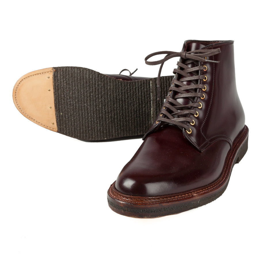 Alden x Frans Boone plain toe boots in #8 cordovan on crepe