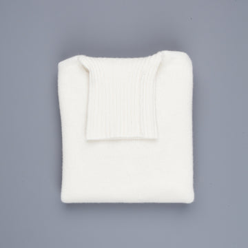 William Lockie Gullan Cashmere Roll Neck Ice White
