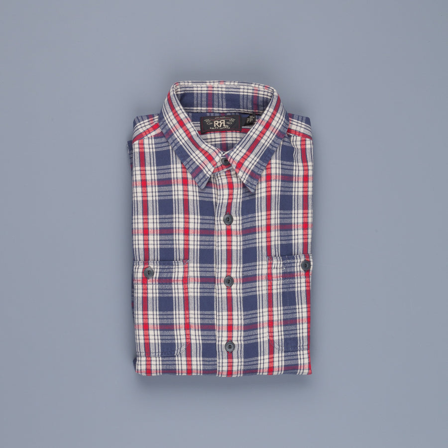 RRL Farrell Workshirt 259 Blue Red Check
