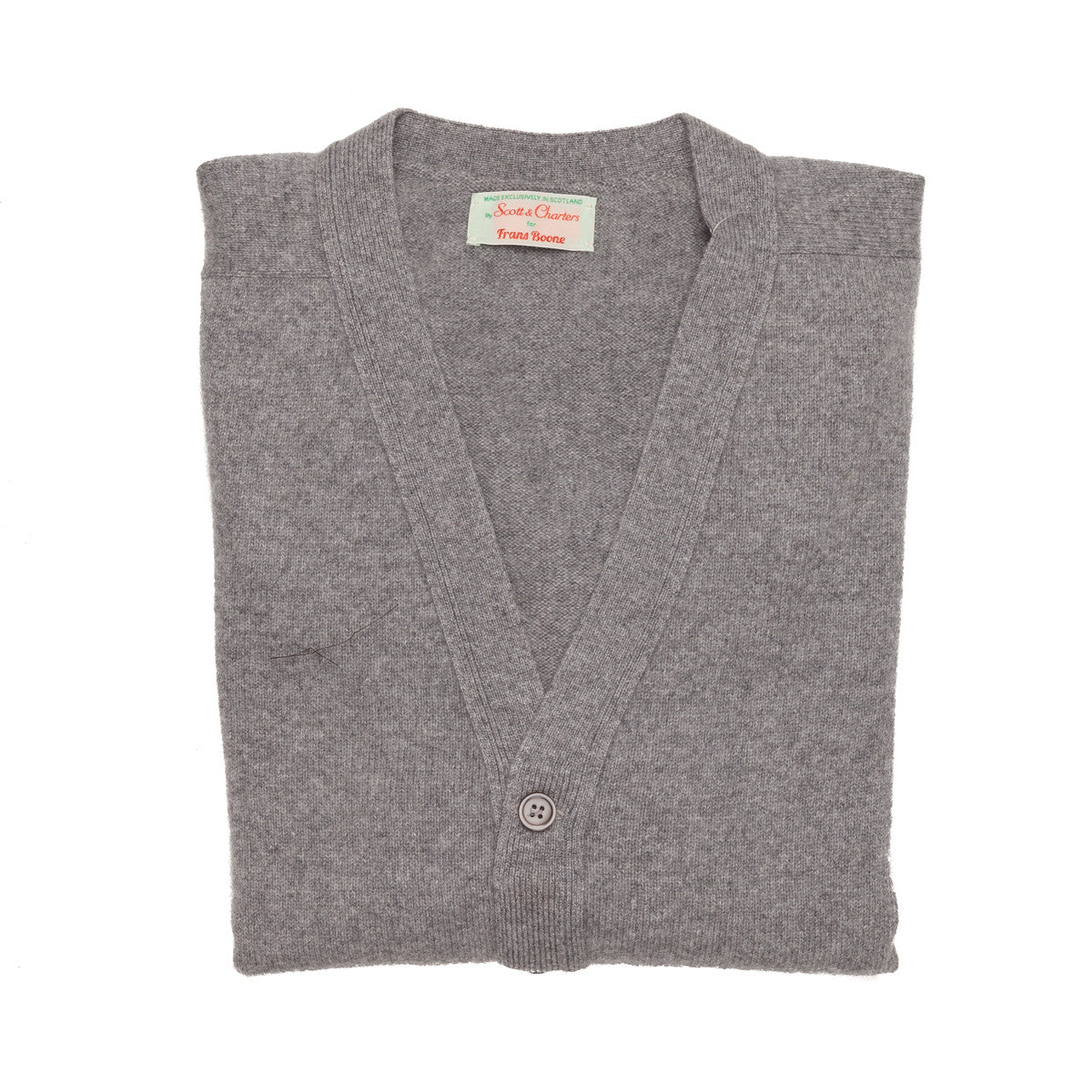 Scott and Charters x Frans Boone 100% cashmere cardigan Flannel Grey