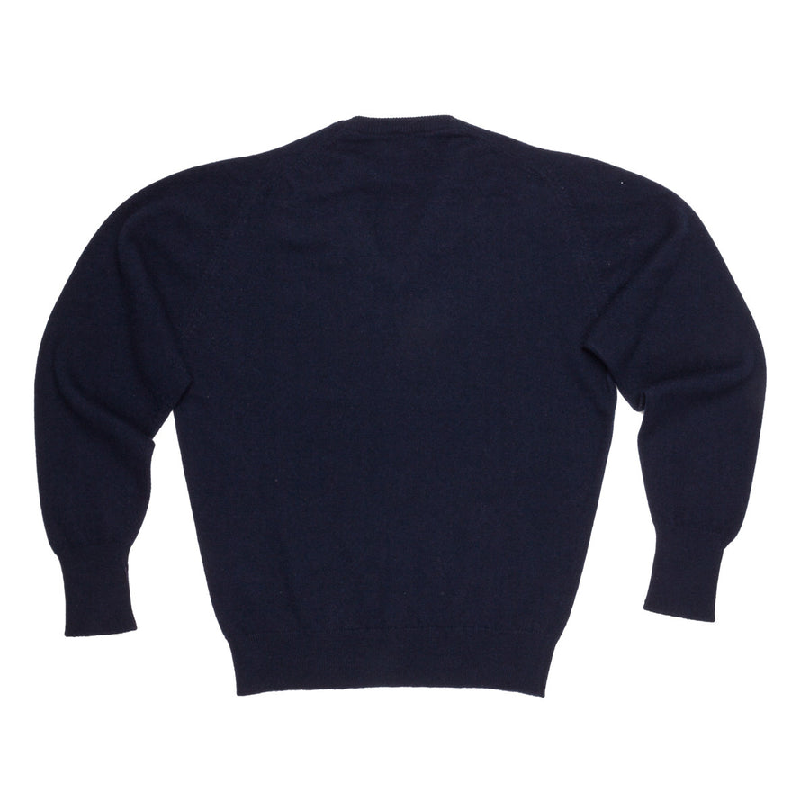 Scott and Charters x Frans Boone V neck 100% cashmere Nero Navy