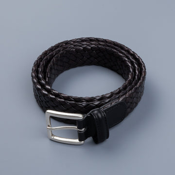 Anderson's Tubular Handwoven Leather Belt Black