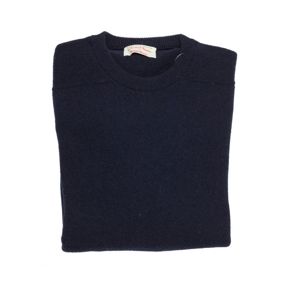 Scott and Charters x Frans Boone crew neck 100% cashmere Nero Navy